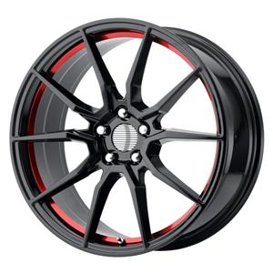 Alumiinivanne PR193 Gloss Black Red Machined | 9x20 | 5x114,3 | ET30 | KR70,6 mm